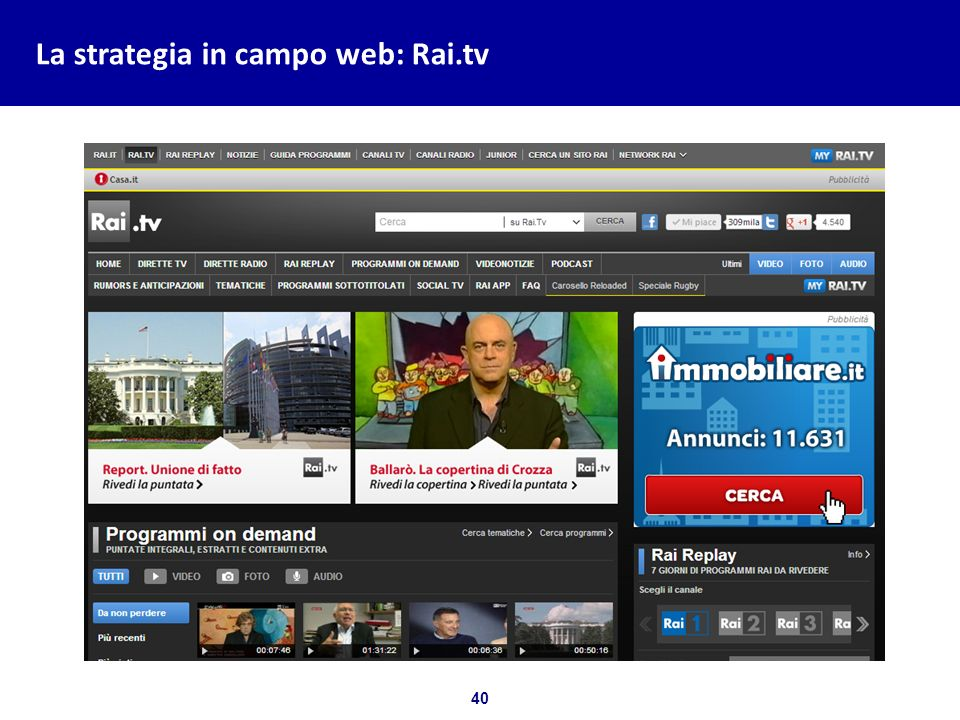 La strategia in campo web: Rai.tv