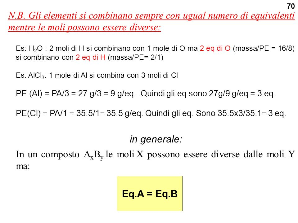 In un composto AxBy le moli X possono essere diverse dalle moli Y ma: