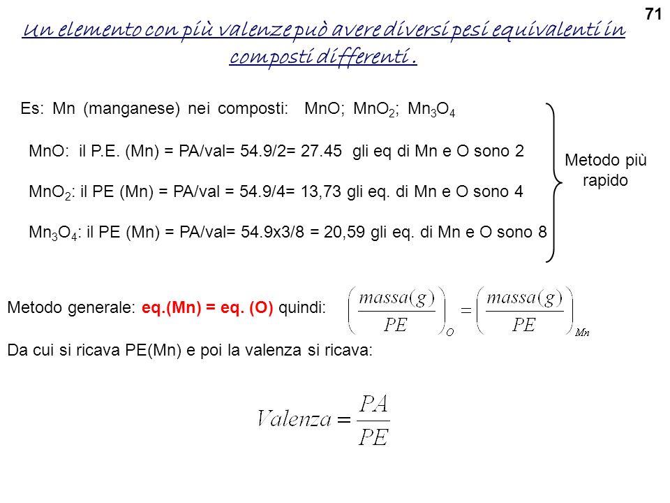 71 Un elemento con più valenze può avere diversi pesi equivalenti in composti differenti . Es: Mn (manganese) nei composti: MnO; MnO2; Mn3O4.