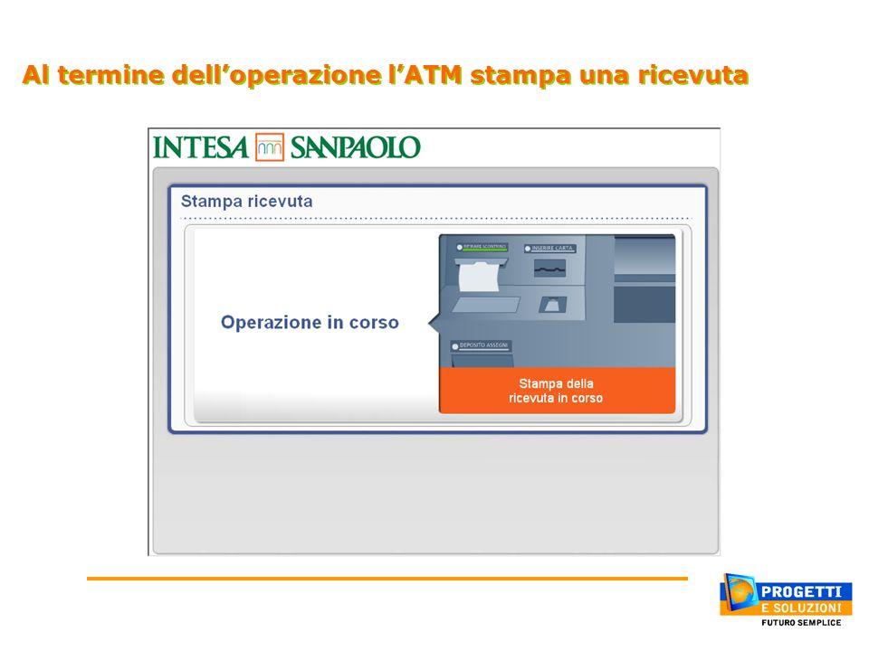 Al termine dell'operazione l'ATM stampa una ricevuta