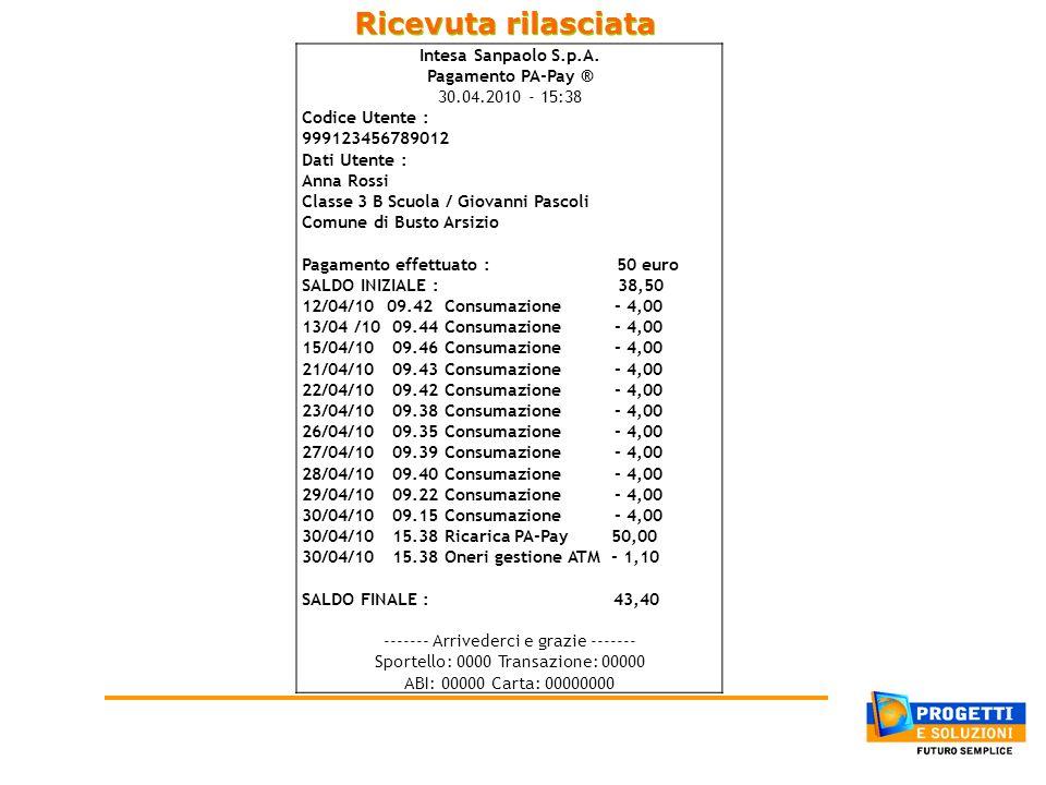 Ricevuta rilasciata Intesa Sanpaolo S.p.A. Pagamento PA-Pay ®