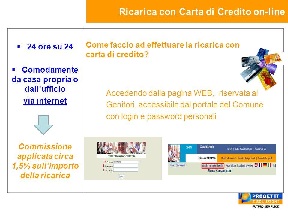 Ricarica con Carta di Credito on-line