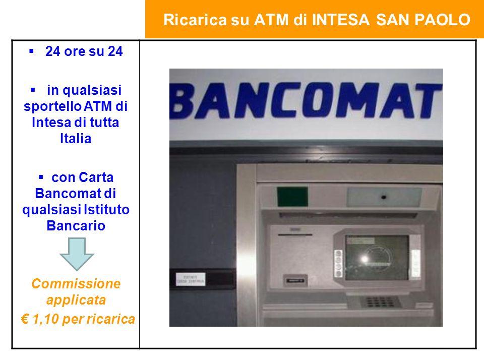 Ricarica su ATM di INTESA SAN PAOLO