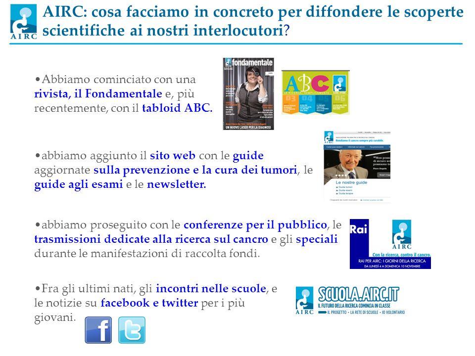 AIRC: cosa facciamo in concreto per diffondere le scoperte scientifiche ai nostri interlocutori