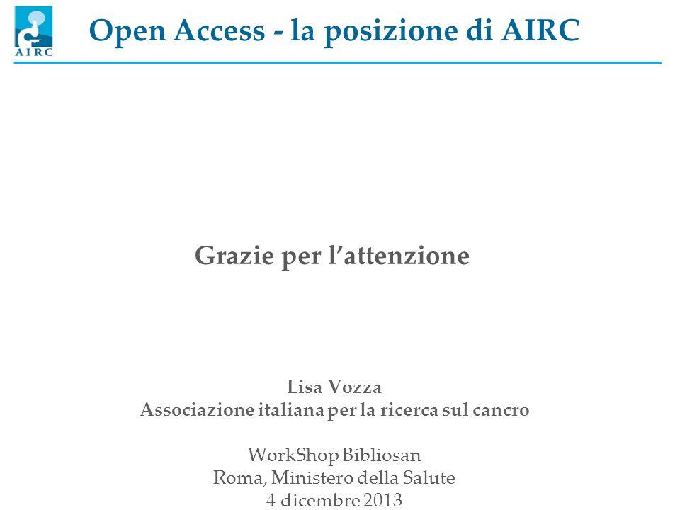 Open Access - la posizione di AIRC