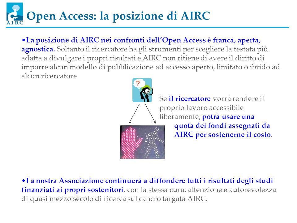 Open Access: la posizione di AIRC