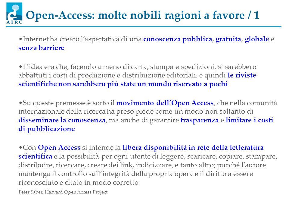 Open-Access: molte nobili ragioni a favore / 1