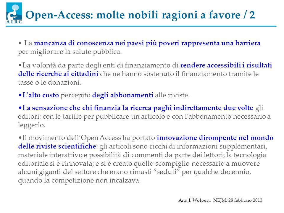 Open-Access: molte nobili ragioni a favore / 2