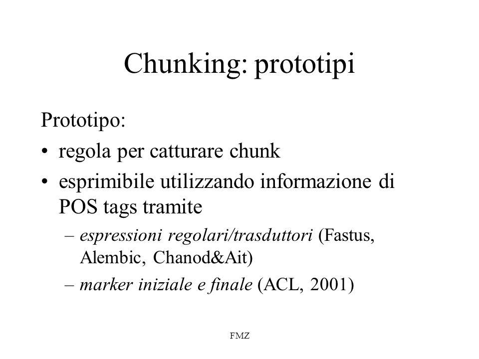 Chunking: prototipi Prototipo: regola per catturare chunk