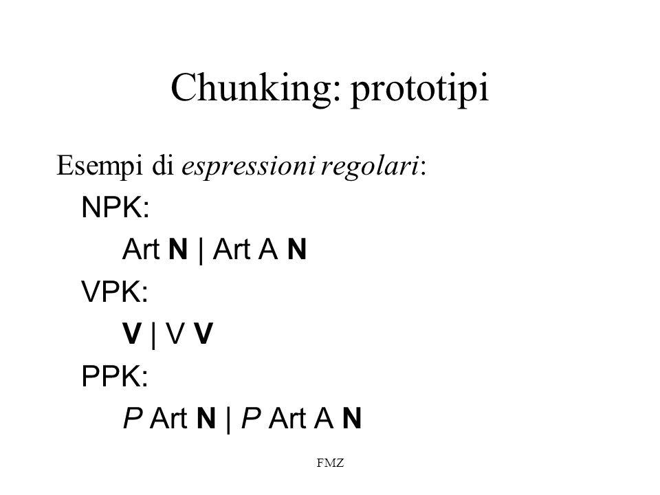 Chunking: prototipi Esempi di espressioni regolari: NPK: