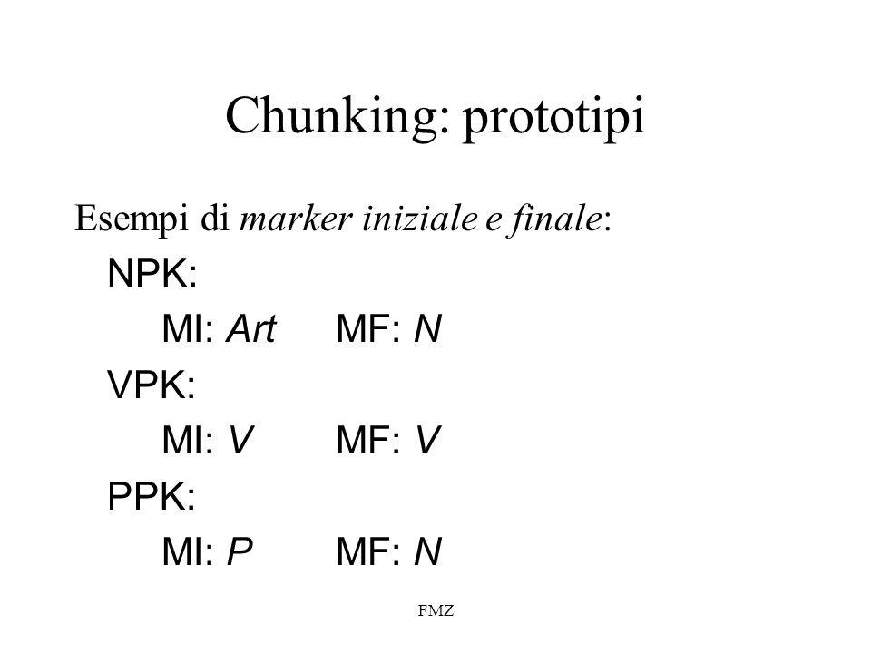 Chunking: prototipi Esempi di marker iniziale e finale: NPK: