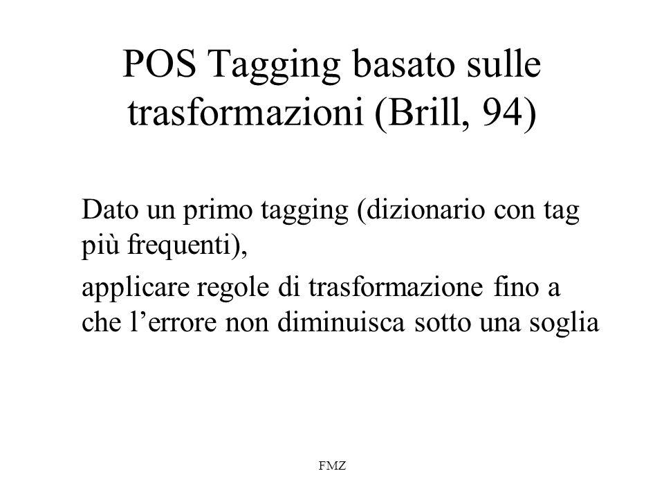 POS Tagging basato sulle trasformazioni (Brill, 94)