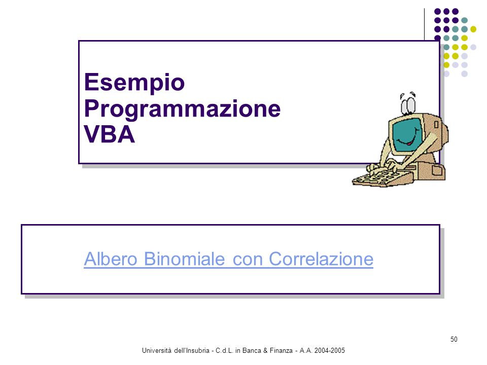 Esempio Programmazione VBA
