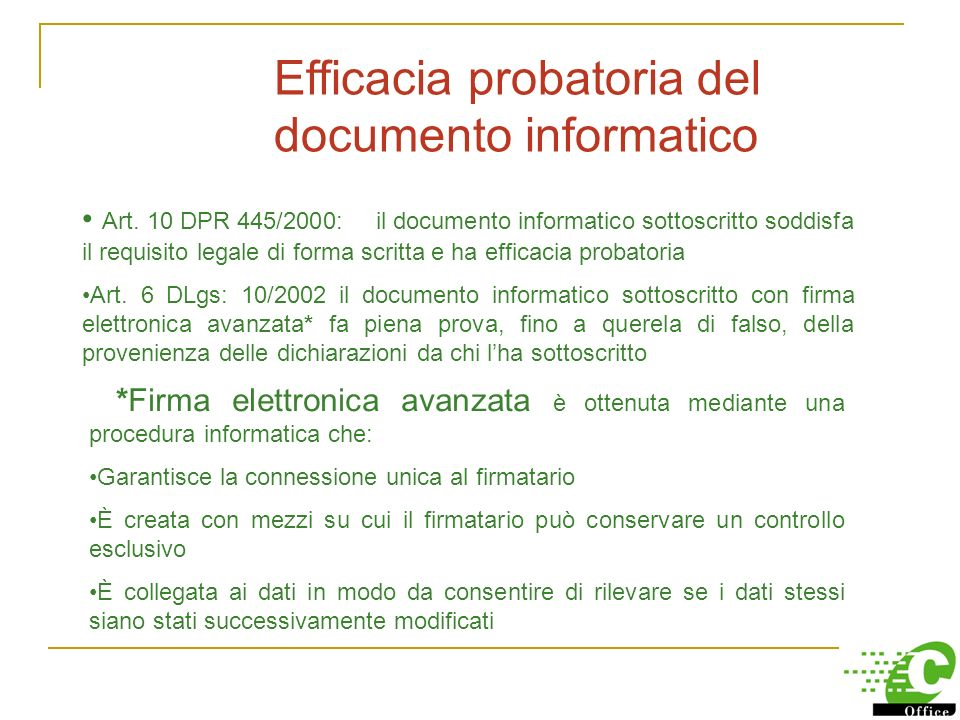 Efficacia probatoria del documento informatico