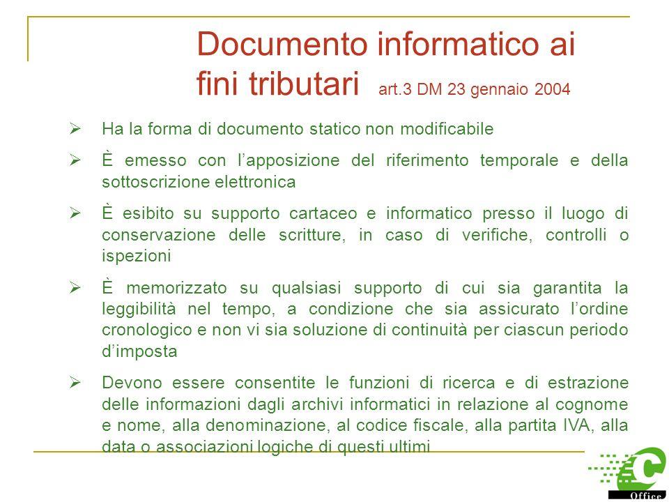 Documento informatico ai fini tributari art.3 DM 23 gennaio 2004