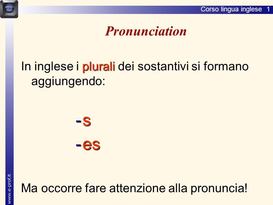 Lingua inglese 1 Pronunciation. In inglese i plurali dei sostantivi si formano aggiungendo: s. es.