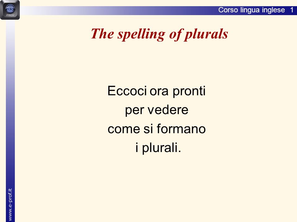The spelling of plurals