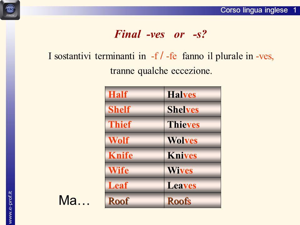 Lingua inglese 1 Final -ves or -s I sostantivi terminanti in -f / -fe fanno il plurale in -ves,
