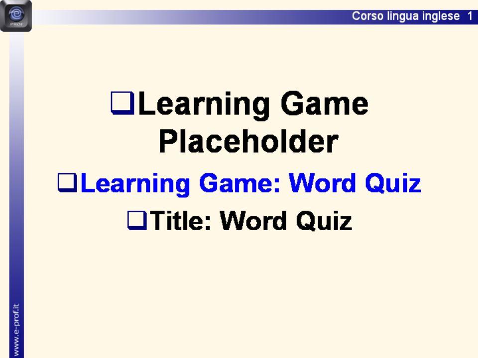 Lingua inglese 1 Word Quiz