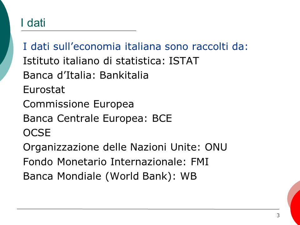 I dati I dati sull'economia italiana sono raccolti da: