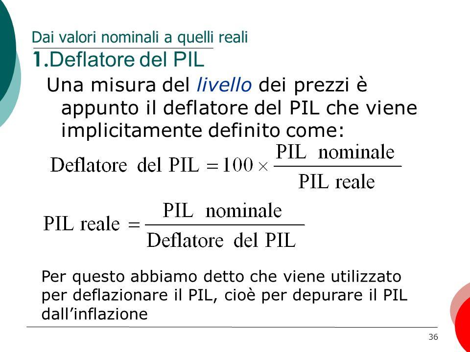 Dai valori nominali a quelli reali 1.Deflatore del PIL