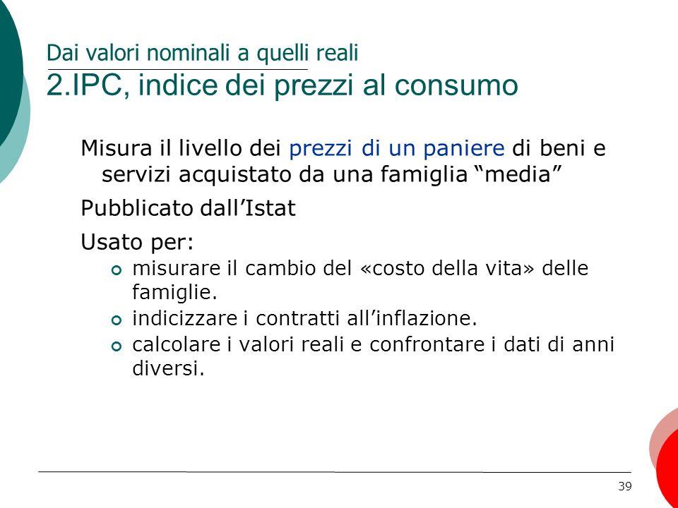 Dai valori nominali a quelli reali 2.IPC, indice dei prezzi al consumo
