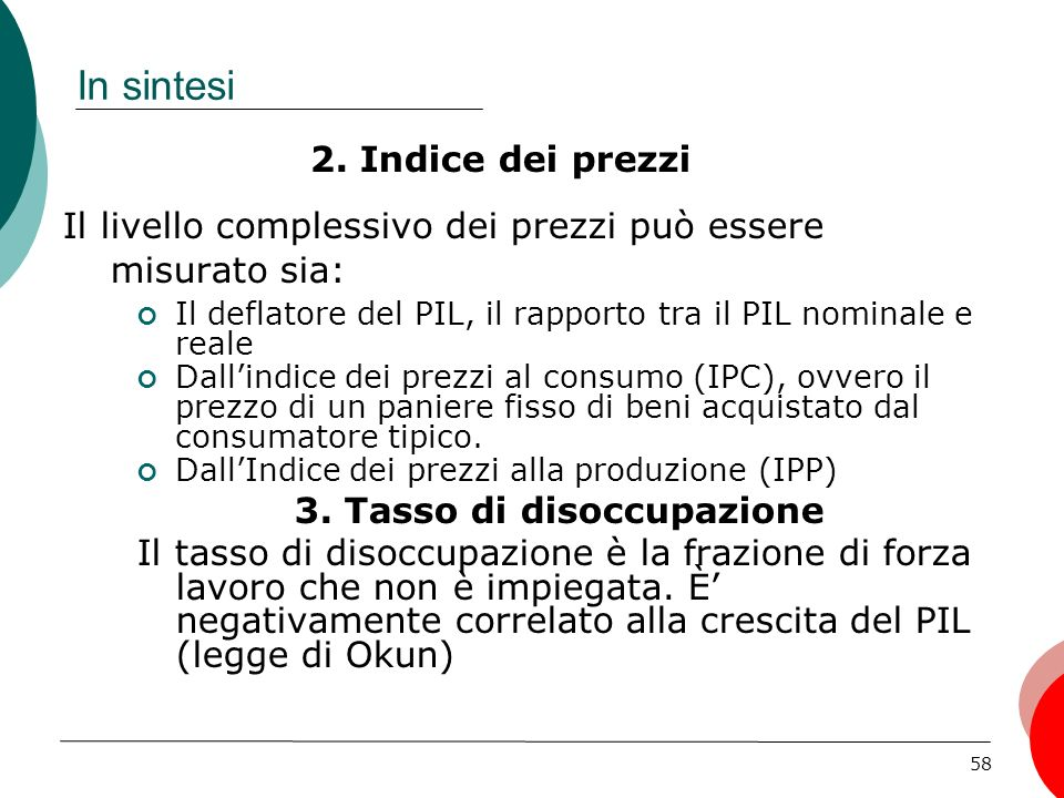 3. Tasso di disoccupazione