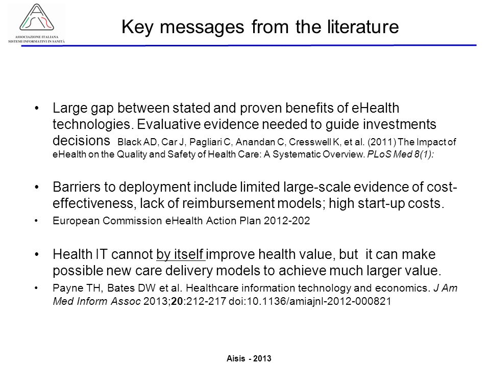 Key messages from the literature