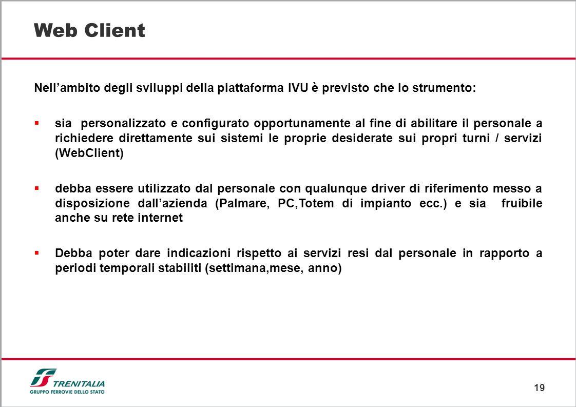 Web Client Nell'ambito degli sviluppi della piattaforma IVU è previsto che lo strumento: