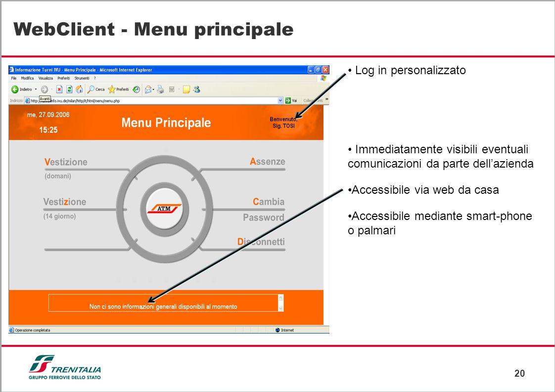 WebClient - Menu principale