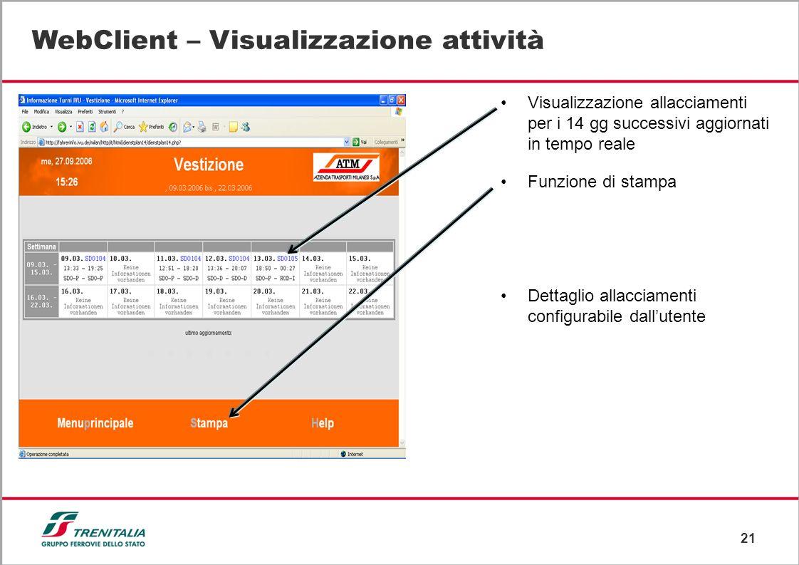 WebClient – Visualizzazione attività