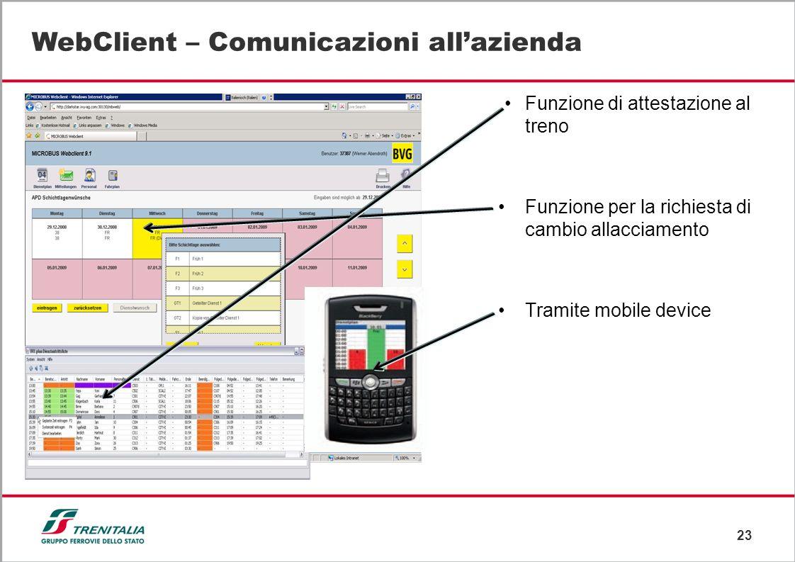 WebClient – Comunicazioni all'azienda