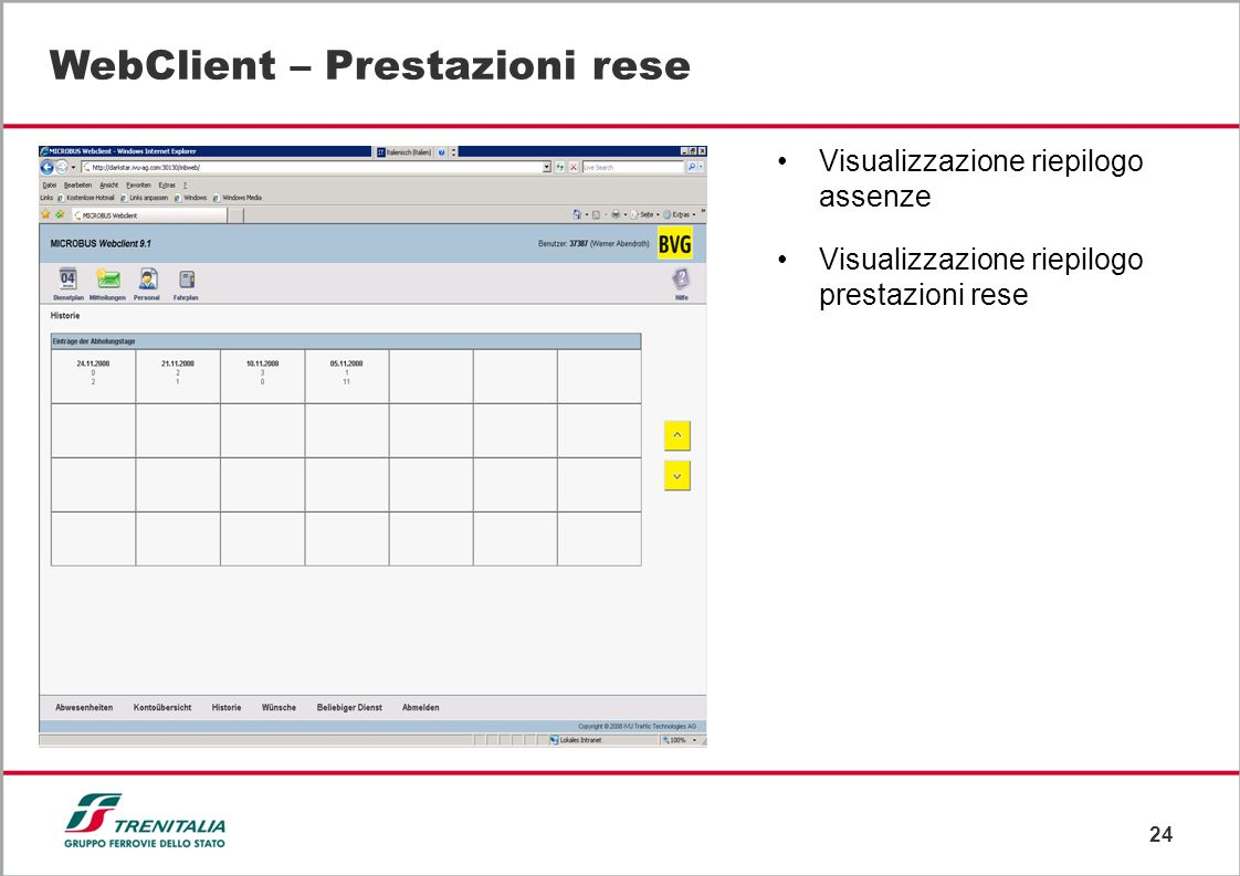 WebClient – Prestazioni rese