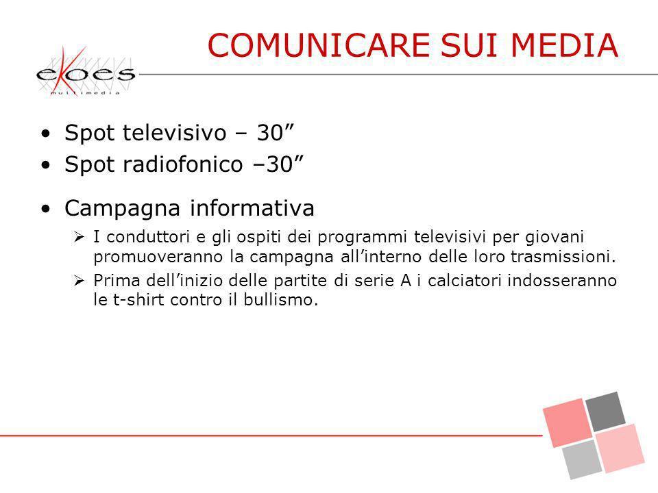 COMUNICARE SUI MEDIA Spot televisivo – 30 Spot radiofonico –30