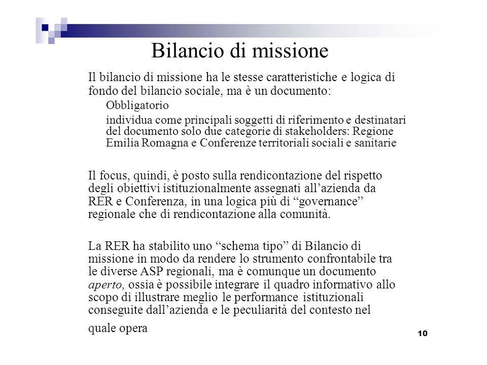 Il bilancio di missione ha le stesse caratteristiche e logica di