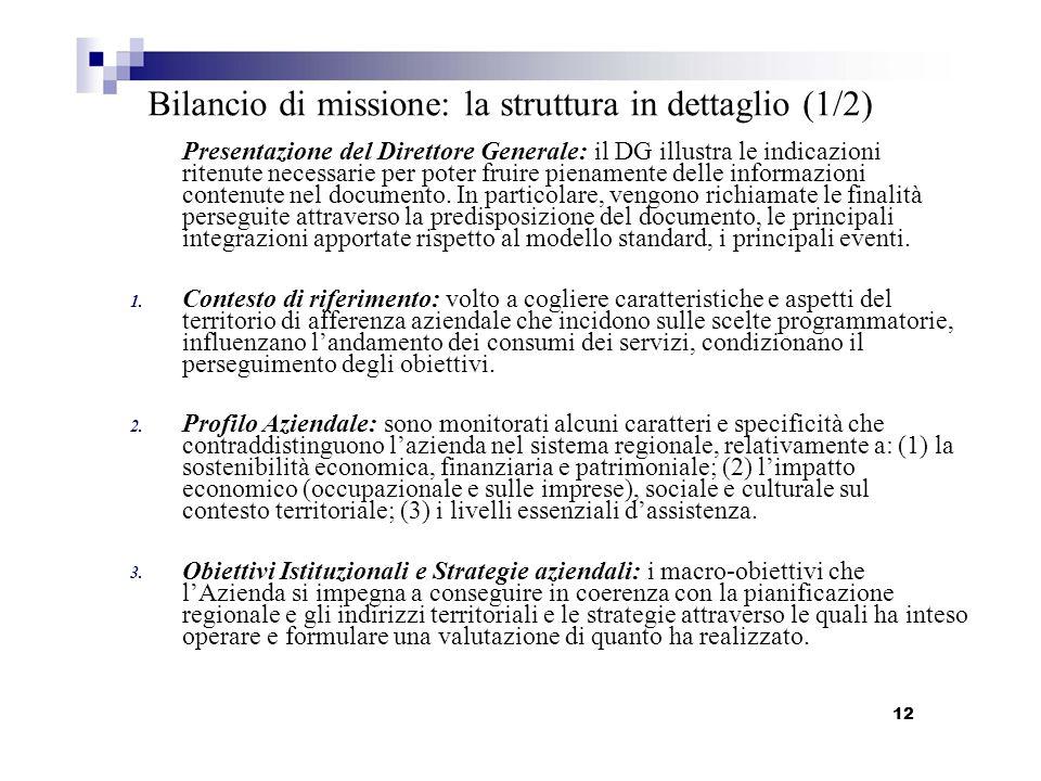 Bilancio di missione: la struttura in dettaglio (1/2)