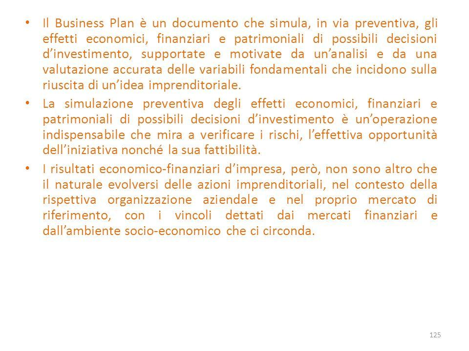 Il Business Plan è un documento che simula, in via preventiva, gli effetti economici, finanziari e patrimoniali di possibili decisioni d'investimento, supportate e motivate da un'analisi e da una valutazione accurata delle variabili fondamentali che incidono sulla riuscita di un'idea imprenditoriale.