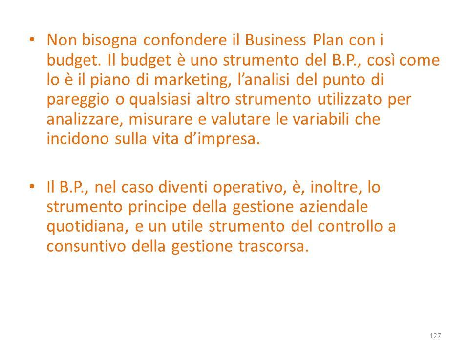 Non bisogna confondere il Business Plan con i budget