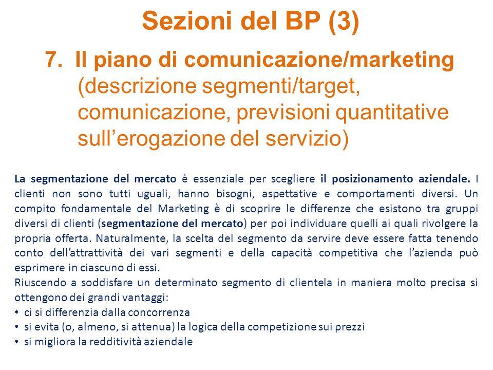 Sezioni del BP (3) 7. Il piano di comunicazione/marketing