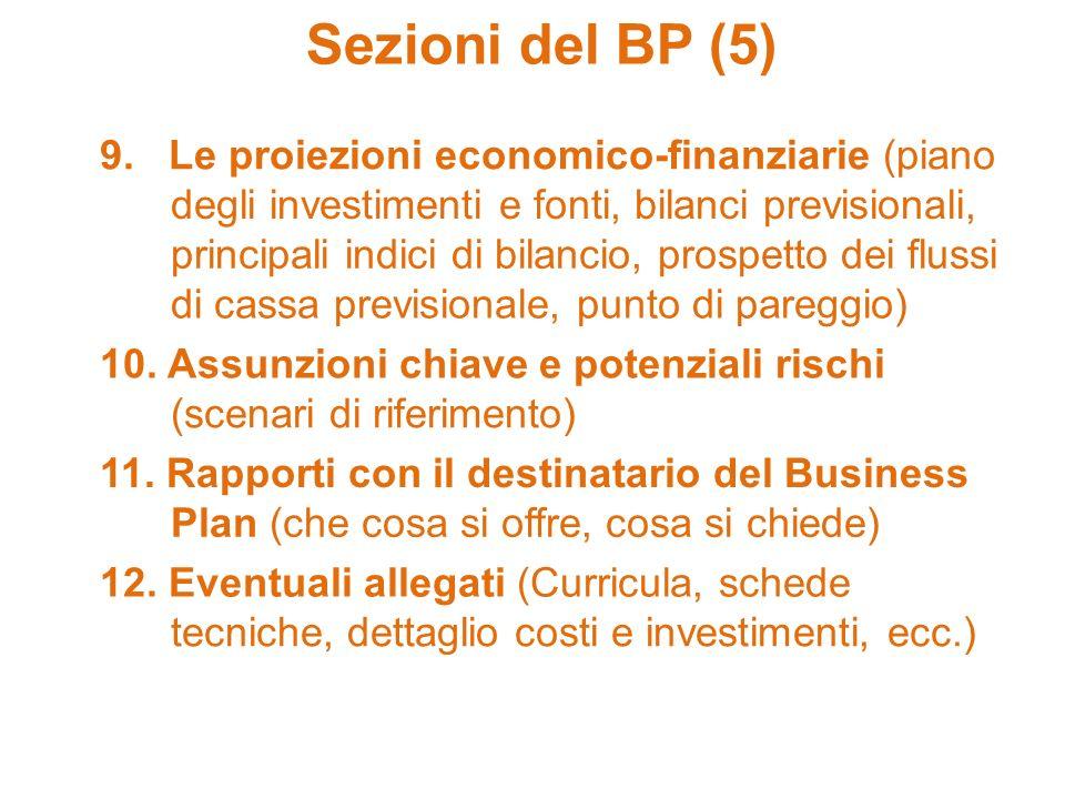 Sezioni del BP (5) 9. Le proiezioni economico-finanziarie (piano