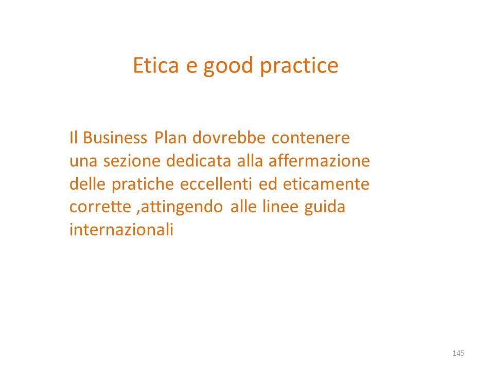 Etica e good practice Il Business Plan dovrebbe contenere