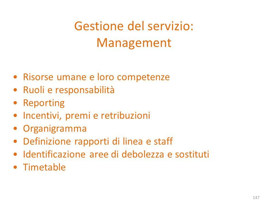 Gestione del servizio: Management