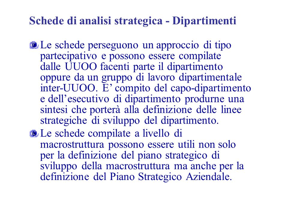 Schede di analisi strategica - Dipartimenti