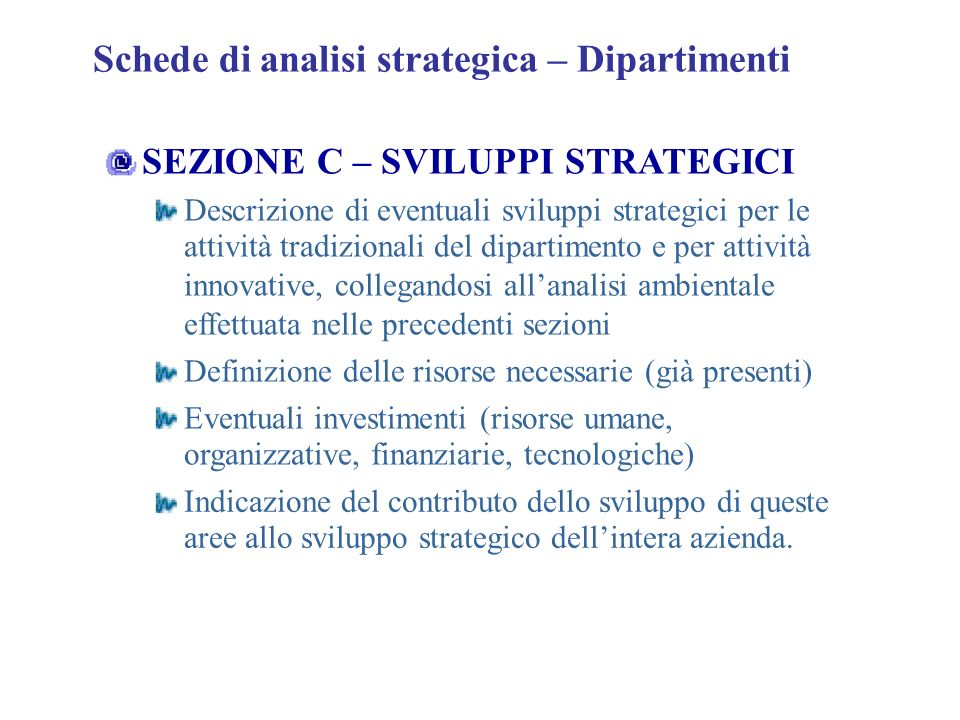 Schede di analisi strategica – Dipartimenti