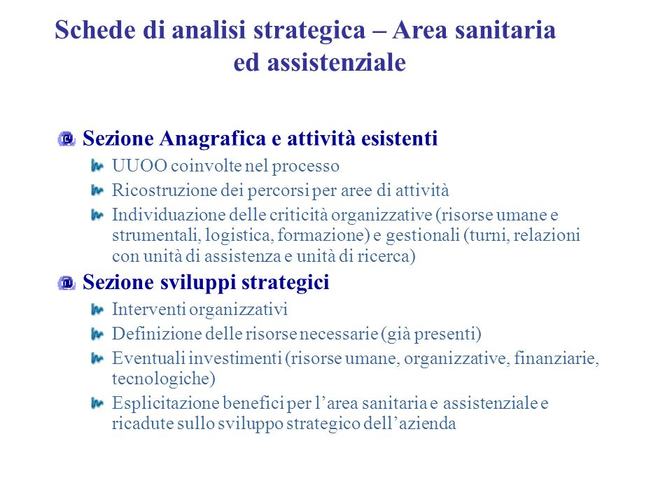 Schede di analisi strategica – Area sanitaria ed assistenziale