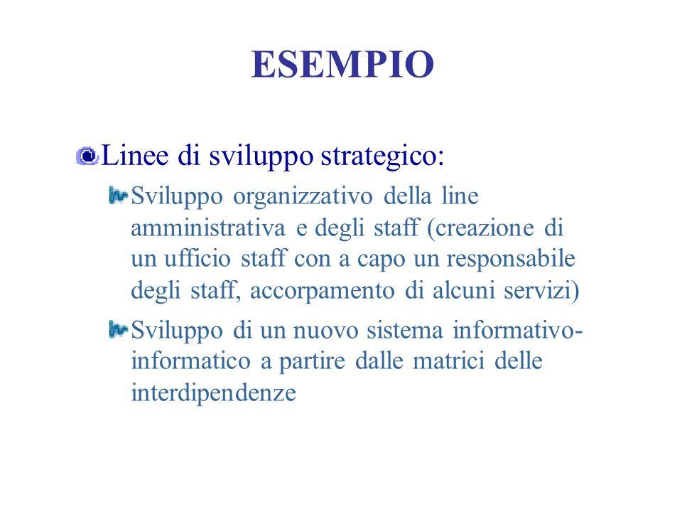 ESEMPIO Linee di sviluppo strategico: