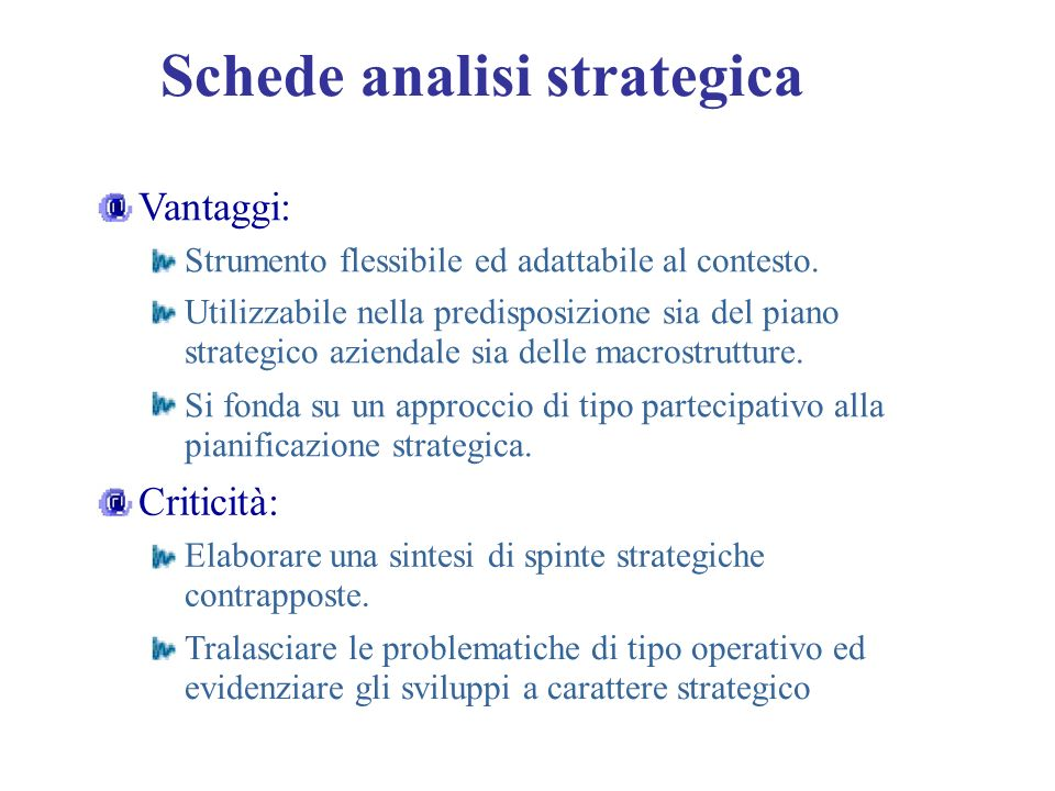 Schede analisi strategica