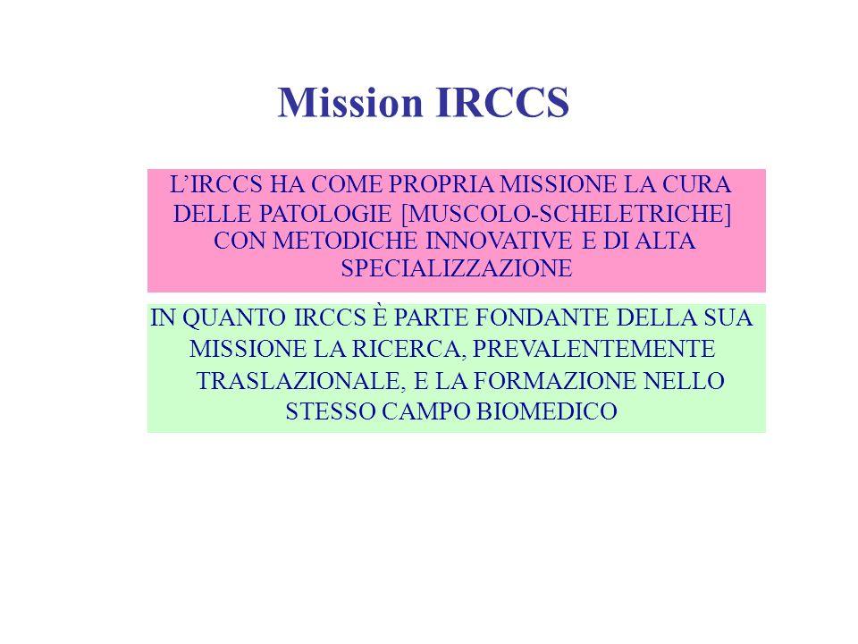 Mission IRCCS L'IRCCS HA COME PROPRIA MISSIONE LA CURA