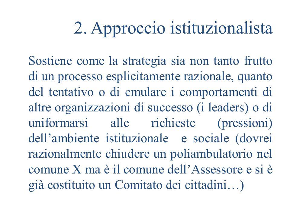 2. Approccio istituzionalista
