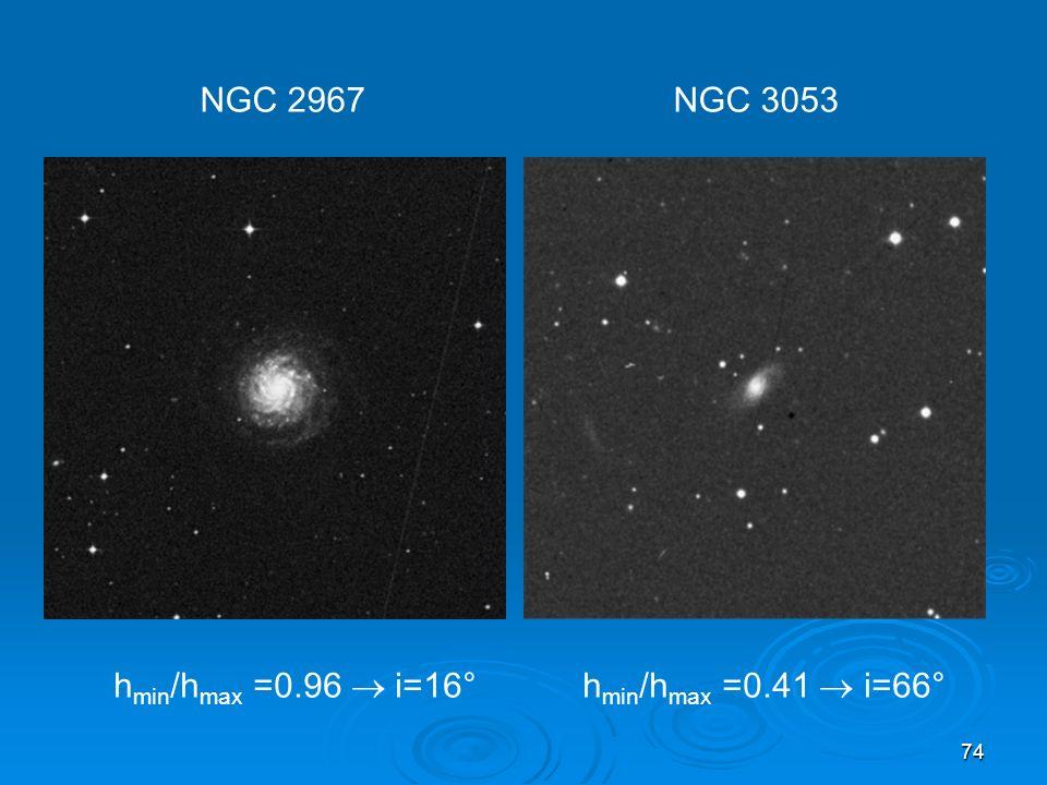 NGC 2967 NGC 3053 hmin/hmax =0.96  i=16° hmin/hmax =0.41  i=66°
